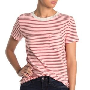 Madewell Red Striped Persimmon Crew Shirt Top